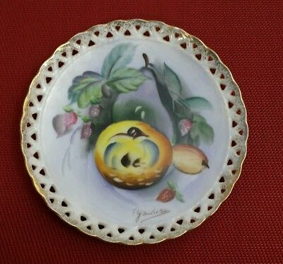 Vintage UCAGCO Japan Wall Decor Hanging Porcelain Plate Hand Painted / SIGNED