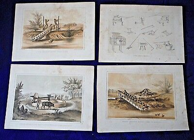 1856 lot of 4 antique prints CHINESE TOOLS primitive engineer Perry Exp US Navy