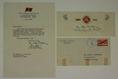 1945 Wwii Era Usmc Marine Corps Letter From Commandant Clifton B. Cates