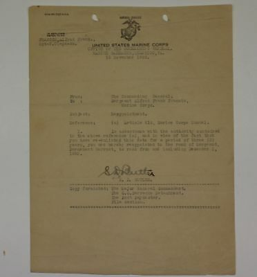 1922 Wwi Era Marine Corps Reappointment Document Signed By Gen. Smedley Butler