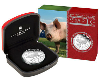 2019-P Australia Year of the Pig 1 oz Silver Lunar S2 $1 Coin GEM Proof SKU55141