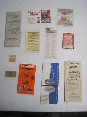 Vintage Coleman Instructions & Other Assorted Coleman Papers