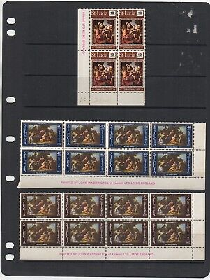 1971 - 1972 ST LUCIA - 3 x Blocks of Stamps + Gutters Unused JOB LOT 1
