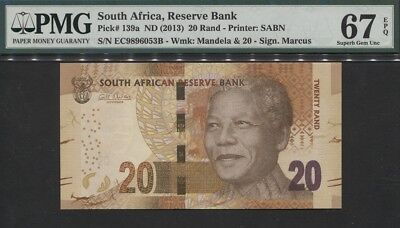 "TT PK 139a ND (2013) SOUTH AFRICA 20 RAND ""NELSON MANDELA"" PMG 67 EPQ SUPERB!"