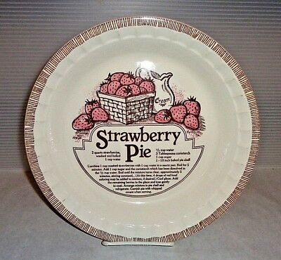 Mid Century Vintage Royal China Jeannette Strawberry Pie Recipe Plate Pink 10""