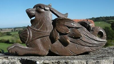 SUPERB Pr 19thc GOTHIC OAK CARVED WINGED GARGOYLES