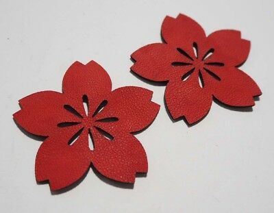 Flower - Laser Cut Shapes 2 Pcs - Red Lambskin Leather