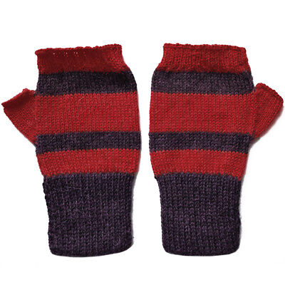100% Alpaca Wool Fingerless Mittens Purple Red Medium ~ Women Men Accessories