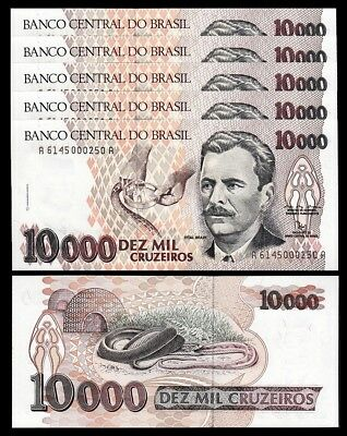 Brazil 10000 Cruzeiros, 1992, Unc, 5 Pcs Lot, Consecutive, P-233b, Sign 29
