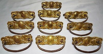 Set of 10 Vtg Pressed Brass Dresser Drawer Handles Furiture Restoration Hardware