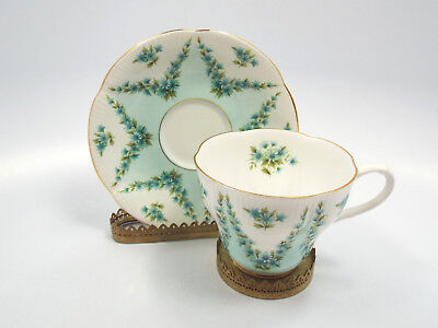 Royal Albert Bone China Shot Silk Blue Floral Pattern Tea Cup & Saucer