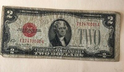 1928G $2 DOLLAR BILL **90 Year OLD ** US NOTE LEGAL TENDER PAPER MONEY  RED SEAL
