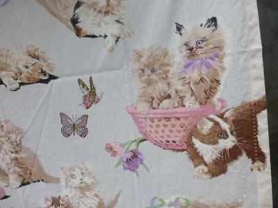 Vtg 70s Hippie Sears Kitten Cat yarn Mod fabric Curtain pair butterfly print