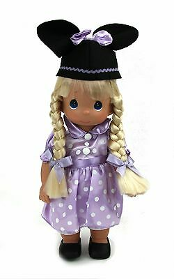 "Precious Moments Blonde Mouseketeer 12"" Vinyl  Doll Spring Easter Purple"