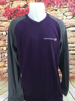 Virgin Atlantic Airlines Mens Long Sleeve Cotton Jersey Shirt Cotton Blend M