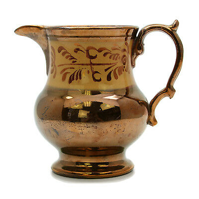 """Antique 19th Century Copper Luster Pitcher Jug Gold Scroll Floral 4 3/4"""" Tall"""