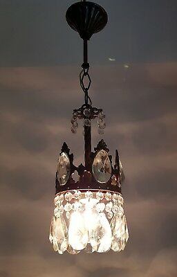Antique French Basket Style Brass & Crystals small Chandelier from 1950's