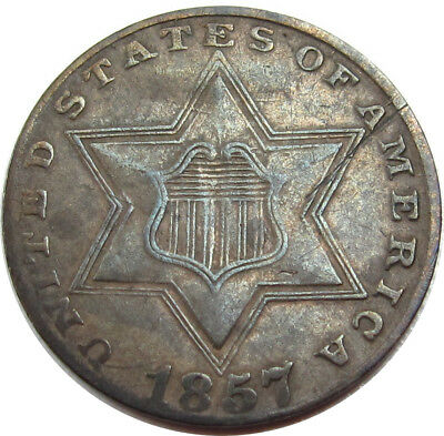 1857 3c Silver XF Condition Rare Estate Find - Z - OE