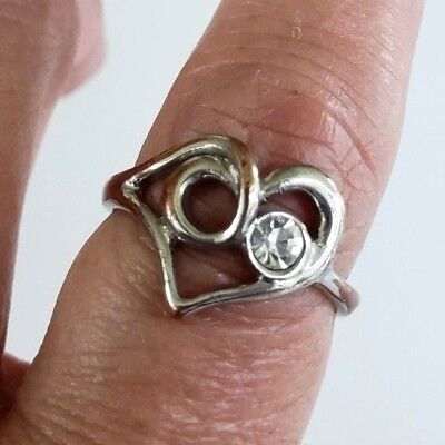 Scribble Heart Clear Rhinestone Ring SilverTone Copper Band Ring Size 8.25 1980s