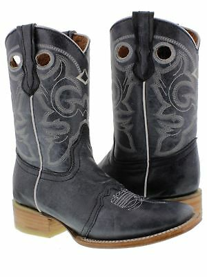 5a7834e8a1f96d Womens Denim Blue Mid Calf Leather Pull On Cowboy Boots Riding Rodeo Square