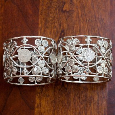 British Colonial Indian Silver Napkin Ring Pair (Coin Silver)