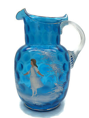 Antique Victorian Mary Gregory Reverse Thumbprint Art Glass Water Pitcher Blue