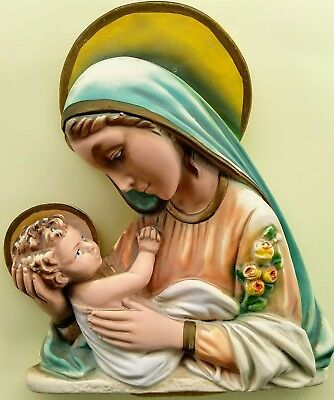 Beautiful Vintage MADONNA and Child Chalkware Wall Plaque Sculpture Hanging