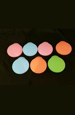 """LOOK! 7 Solid Colored Tupperware """"Impressions"""" Tumbler LIDS [Only] LOT"""