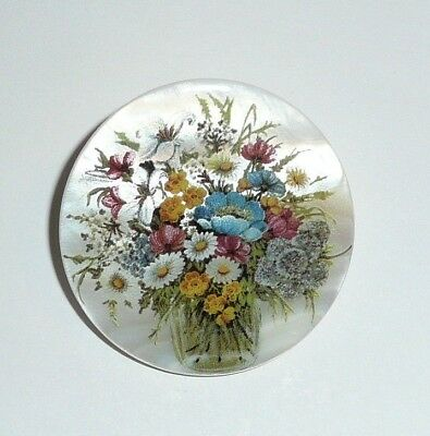 """Vase w/ Pretty Flowers Button - Mother of Pearl MOP Shank Button 1+3/8"""""""