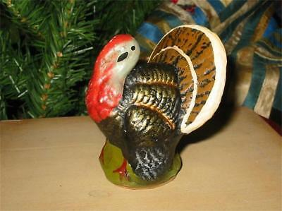 Vintage Style Tiny Thanksgiving Turkey Container Paper Mache New