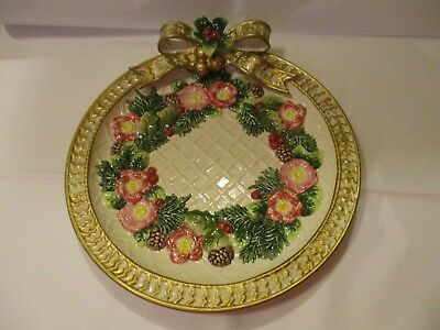 Fitz & Floyd Christmas Roses Pottery Plate Pinecones Bow Berries