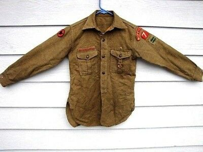 Historic & Rare 1920's Boy Scouts Of America Wool Shirt Top W/ Fox Patrol Patch!