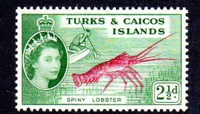 1957 TURKS & CAICOS ISLANDS 2½d spiny lobster SG240 mint very light hinged