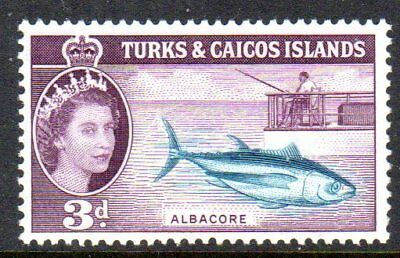 1957 TURKS & CAICOS ISLANDS 3d albacore SG241 mint very light hinged