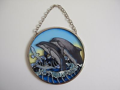 Dolphin Ocean Sun Catcher AMIA Studios Waves & Birds Hand Painted Glass 3 1/2 ""
