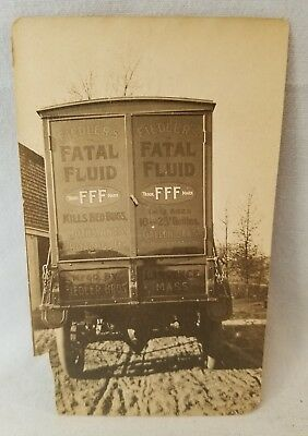 Orig Early 1900's Gelatin Silver Photo Fatal Fluid Advertising On Track NO Res