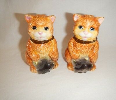 Vintage G K A Cat with Fish Ceramic Salt and Pepper Shakers