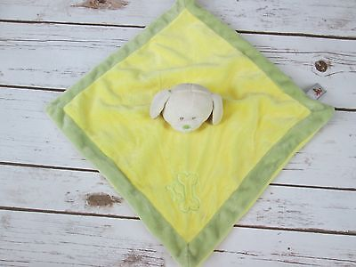 Unipak Yellow Green Puppy Dog Bone Rattle Lovey Security Blanket Baby Toy