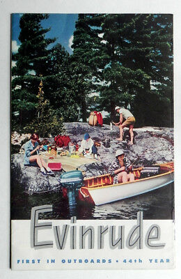 1951 EVINRUDE OUTBOARD BOAT MOTORS Big Color Brochure in MINT Condition
