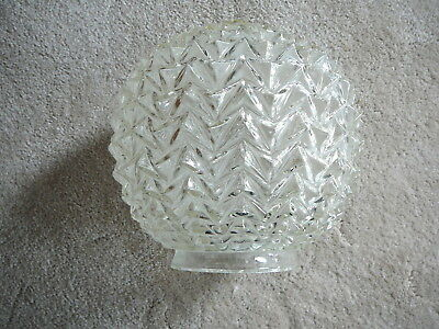 "VINTAGE MID CENTURY MCM CLEAR GLASS CRACKED ICE 8"" BALL LIGHT SHADE - 4"" Fitter"