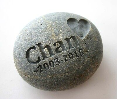 Pet Memorial Custom Engraved Memorial Stone Pet Loss Personalized Name Heart