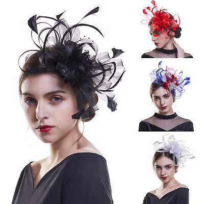 Charms Ladies Mesh Flower Feather Fascinator Hat Headband Wedding Prom Headpiece