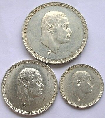 Egypt 1970 Nasser Set of 3 Silver Coins,20,50 Piastres,Pound
