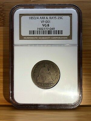 1853/4 Arrows and Rays Seated Liberty Graded NGC VG-8 25C