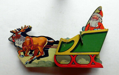 SANTA in SLEIGH Vintage Paper CHRISTMAS Pull Toy Game Makers NY