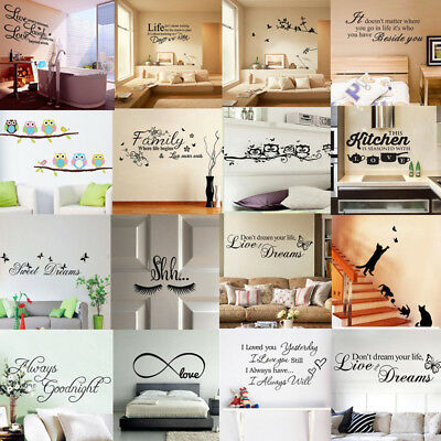 Quote Wall Stickers Decal Vinyl Art Mural Home Room Decor Bedroom Removable DIY