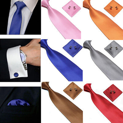 Plain Tie cufflink and hanky hankerchief set stylish fashion mens gift party Y