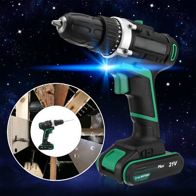 21V Rechargeable Cordless Drill Driver Set Lithium Ion Screwdriver Double-speed