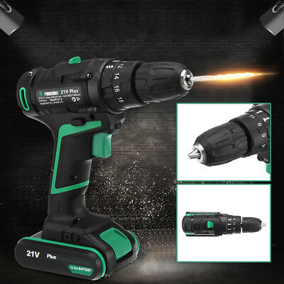 21V Rechargeable Cordless Impact Drill Driver Set Lithium Ion Screwdriver