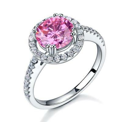 925 Sterling Silver Wedding Engagement Halo Ring 2 ct Fancy Pink Created Diamond